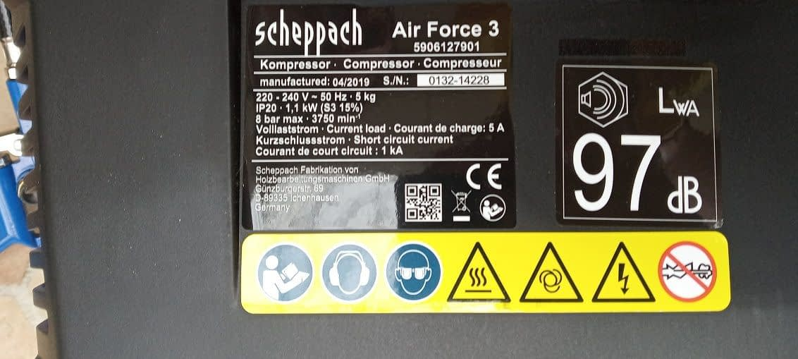 kompresor scheppach air force 3 hluk