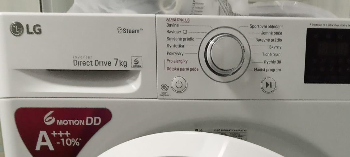 praní prádla pračka lg